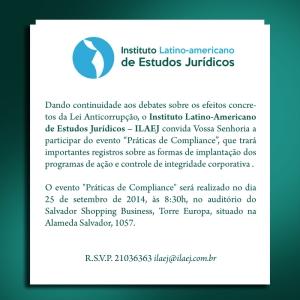 Convite Digital ILAEJ - Compliance